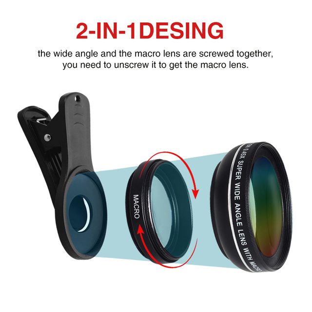 2 in 1 Lens 0.45X Wide Angle+12.5X Macro Lens Professional HD Phone Camera Lens For iPhone 8 7 6S Plus Xiaomi Samsung LG 1