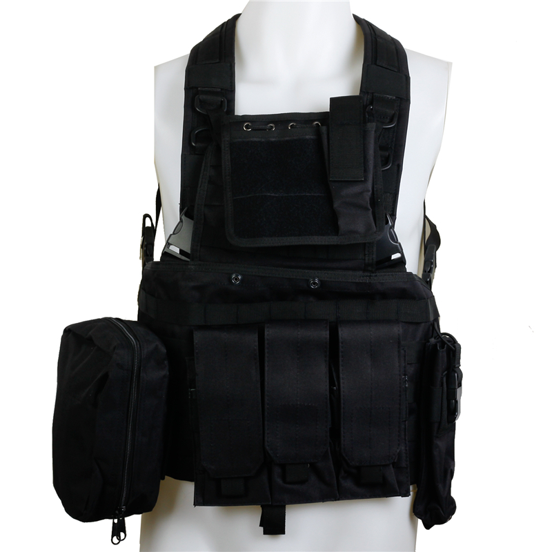 CQC RRV Molle Airsoft Tactical Vest Black Body Armor Military Combat Assault Chest Rig Police Paintball Hunting Vest emersongear uw gen v split front chest rig body armor airsoft paintball combat molle vest tactical chest rig multicam em7451
