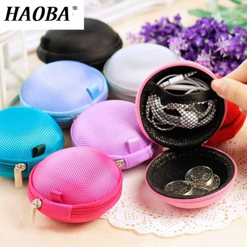 HAOBA 1pcs Portable Mini Earphone Wire Storage Pouch Bag Soft Headset Earbuds Box SD Card Box for Earphone TF Cards Money Box
