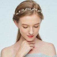 Czysta Ręcznie Ślubne Akcesoria Do Włosów Ślubne Akcesoria Do Włosów z Pałąkiem na głowę Zielone Liście Białe Perły Złoto Oddział Gorący Bubel MD225