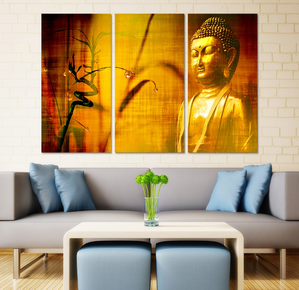 Online Shop Framed HD Print 3 pcs Golden yellow buddha canvas wall ...