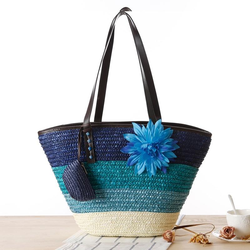 SUDS 여름 토트 핸드백 높은 품질 다채로운 캐주얼 여성 가방 꽃 비치 가방 여성 2019 대형 짠된 밀짚 핸드백 지퍼