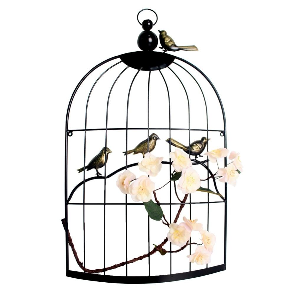 Grande cage à oiseaux en fer Antique décorative demi-cage en fer classique avec fleur artificielle pour décoration de mariage faite à la main