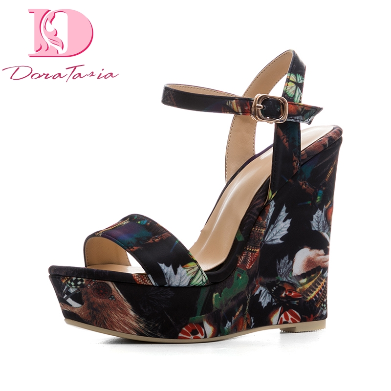 DoraTasia New Size 34-41 Platform Brand Shoes Woman Sexy Flowers Printing Wedges High Heels Party Summer Shoes Sandals Women euro size 34 44 pu woman 15 and 17cm high heels platform sandals nightclub woman high heeled birthday party shoes for t station