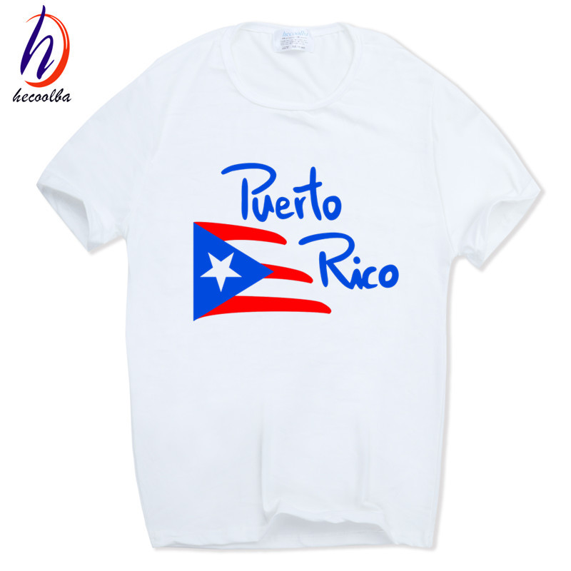 ₪Hecoolba 2017 imprimir Puerto Rico bandera cráneo Cool manga corta ...