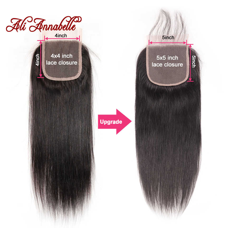 Brazilian Straight Human Hair Lace Closure 5*5 Swiss Lace Closure Natural Color 10-22Inch 100% Human Hair Middle/Free Part Remy