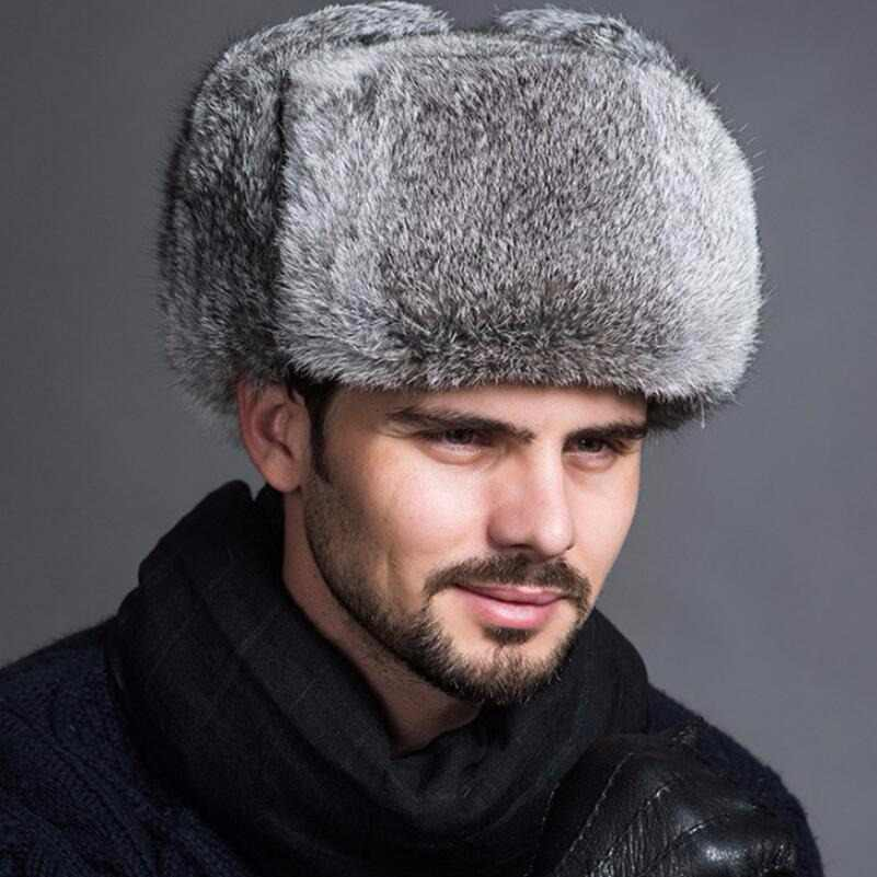 7bc8464d65f High Quality Mens 100% Real Rabbit Fur Winter Hats Lei Feng hat With Ear  Flaps