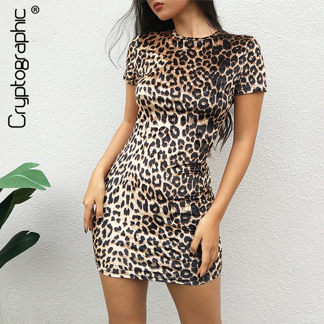 540f56b3dc2a Cryptographic leopard print fashion round neck short sleeve mini dress slim  sexy bodycon dress party night club women's clothing