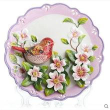 red magpie birds flowers decorative wall dishes porcelain plates vintage home decro crafts room decoration