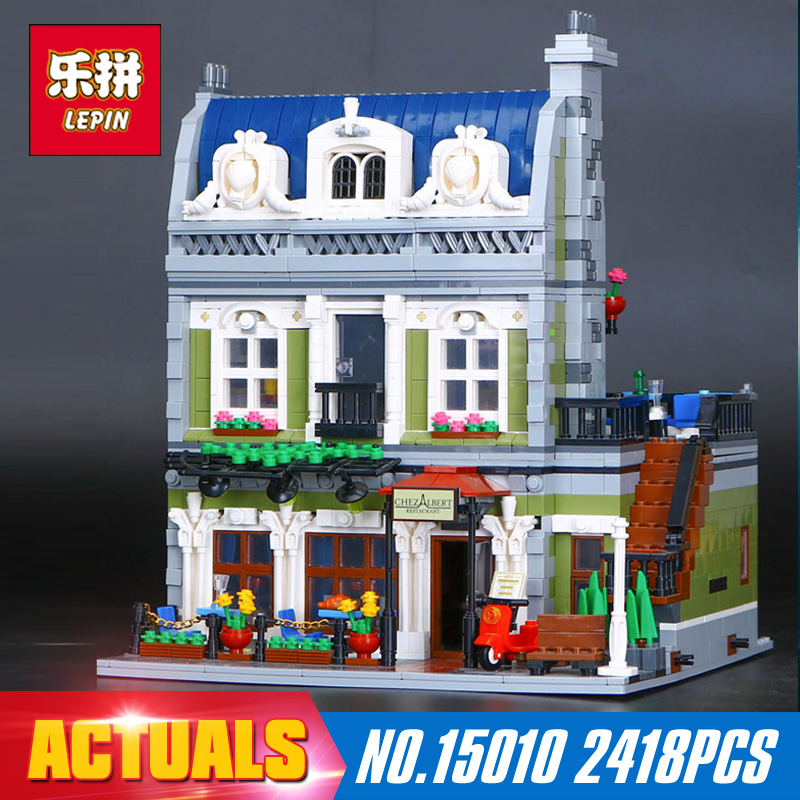 With light 2418Pcs 15010B 15010 Lepin Creator Expert City Street Parisian Restaurant Model Building Blocks Toy Compatible 10243 new lepin 15010 expert city street parisian restaurant model building kits blocks funny children toys compatible with 10243 gift