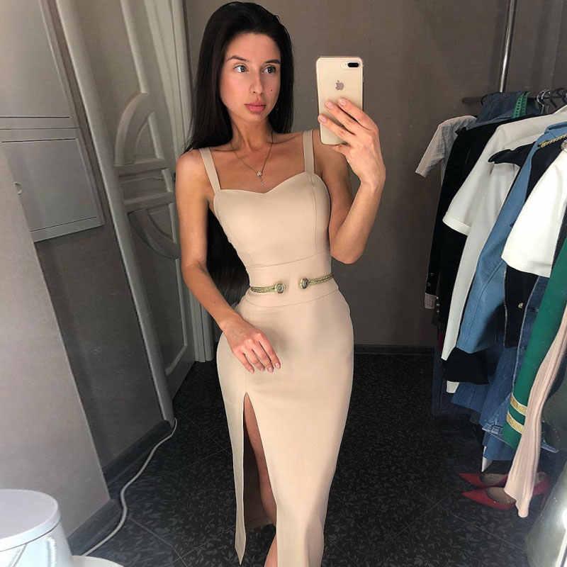 Ocstrade fête du nouvel an 2019 femme Vestidos Midi robe moulante bretelles Spaghetti côté fendu Sexy blanc robe moulante