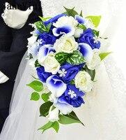 JaneVini синий цветок свадебные букеты с Хрустальный Водопад искусственные розы Калла Люкс Поддержка букет невесты цветами в руках