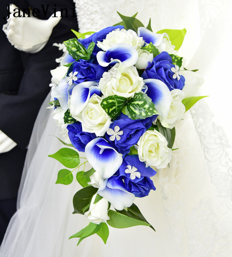 JaneVini Blue Flower Wedding Bouquets With Crystal Waterfall Artificial Rose Calla Bridal Support Bouquet Brides Holding Flowers