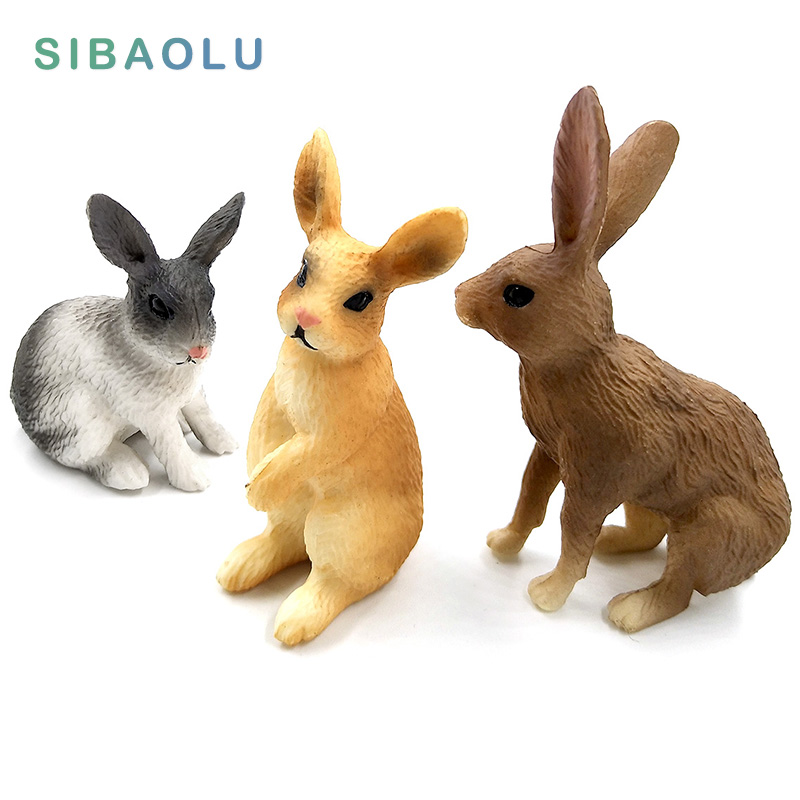 Simulation Mini Rabbit Animal Model Figure Hare Figurine Home Decor Miniature Fairy Garden Decoration Accessories Modern Statue