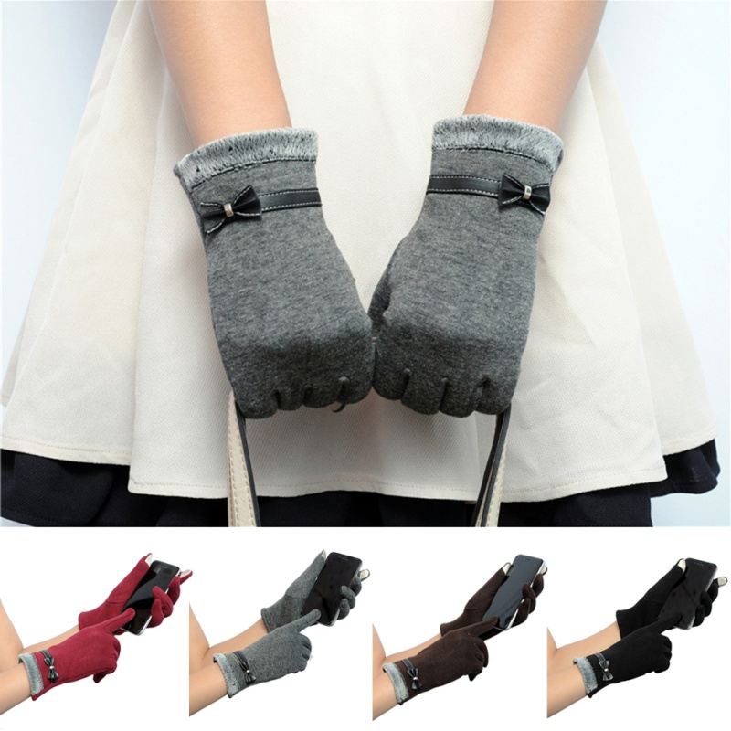 Cute Women Touch Screen Knitted Wrist Gloves Mittens Bowknots Flower Short Gloves