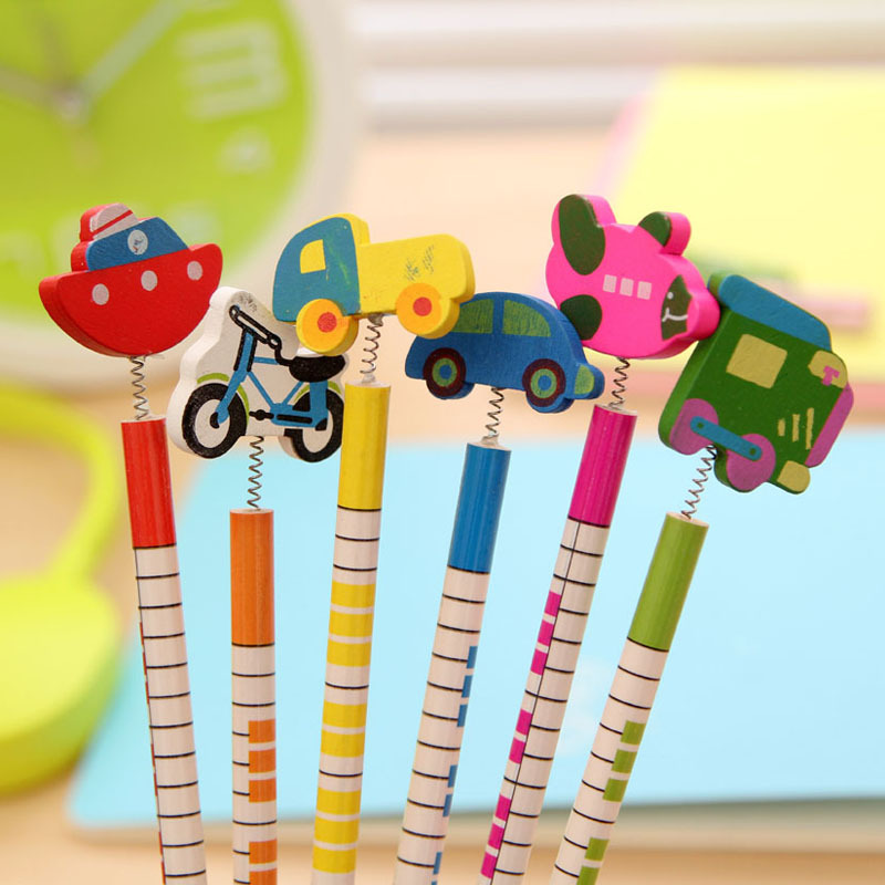 6 Pcs / pack , New Hot Selling Handmade Wooden Pencil Cartoon Vehicles Pencils Creative Trend Stationery Children Student Pencil assorted cartoon pencils 5 pack