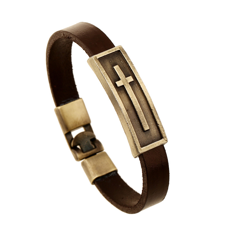 21cm Vintage Genuine Leather Brown Color Women Bracelet Bronze Cross Charm Men Bangle Jewelry US Hot Sale Fashion Gift