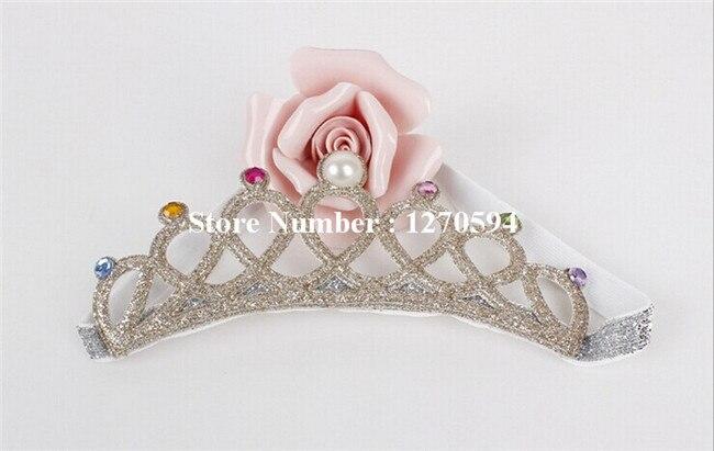 10 шт./лот корона для девочек повязка на голову, с блестками тиара на голову с украшением в виде кристаллов детский ободок для дня рождения; Мода для девочек; эластичная повязка на голову - Цвет: champagne