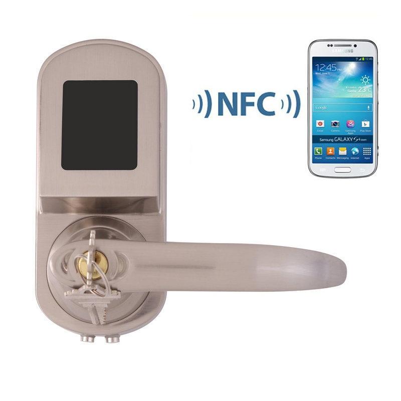 Intelligent Électronique Serrure De Porte NFC Fonction À Distance Mobile Téléphone Contrôle Avec NFC Carte et Clé De Rechange 3 DANS 1 Pour accueil Hôtel Appartement