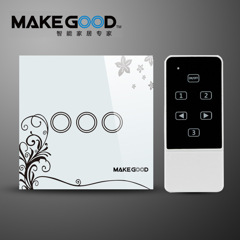 Makegood EU Standard 3Gang 1 Way Remote Switch, Crystal Glass Panel Wall Light Remote Touch The Switch For Smart Home home automation wall light switch eu standard 220v 3gang white crystal glass panel remote control touch light switch with led