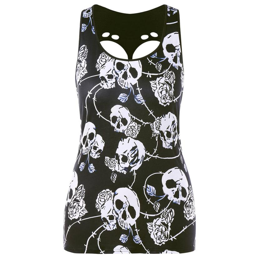 Plus Size Camis Women Summer Tank Tops Sexy Club Tank Harajuku Style Tees Black Unicorn 3D Print Skull Vests Hollow Back Shirts