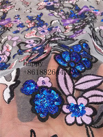 Latest French Lace Pink Flower Embroidered Tulle Lace Fabric LJY 9137 Flower Design High Quality Net