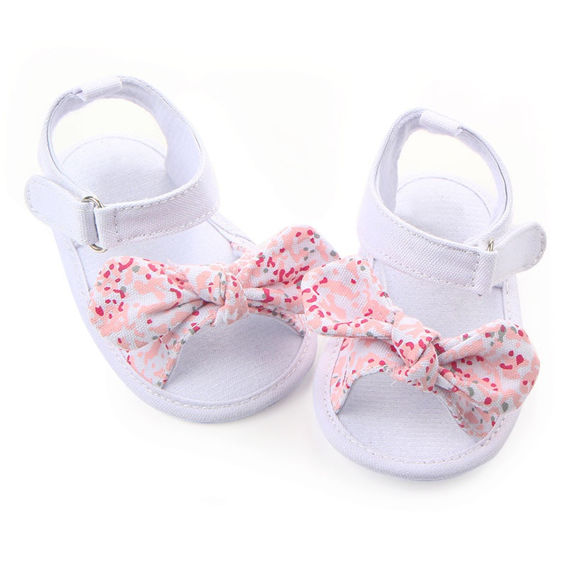 Children's  Girl Princess  Shoes Baby Girls Sweet  Big Bow Floral First Walker Soft Soles Anti-Slip Baby Cots Bebe Summer Shoes