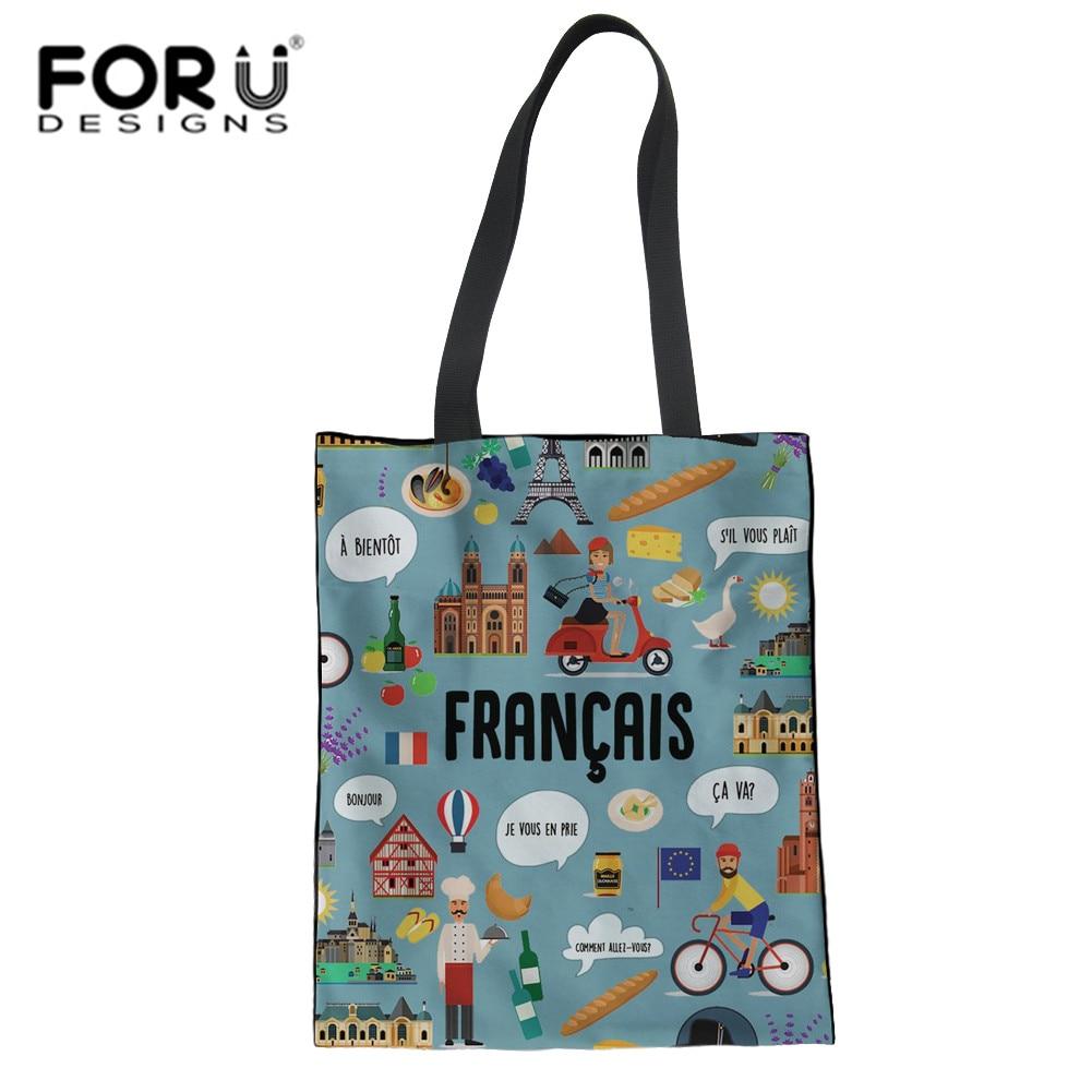 3D Francais Printed Shopping Tote Bag Convenience Shoulder Handbags Linen Vegetable And Fruits
