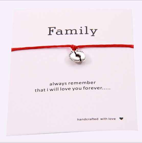 1pc Lovely Double Feet Family Wish Bracelet Mom Dad Baby Kids Gift Simple Red String Bracelets Jewelry for Women Men 7770-7773