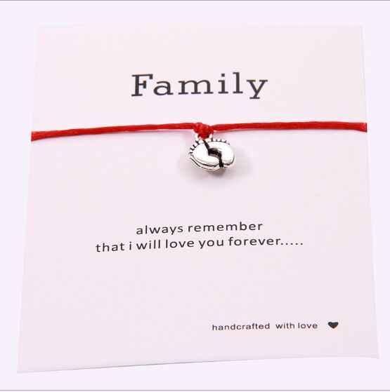 1pc Lovely Double ฟุตครอบครัว Wish สร้อยข้อมือ Mom Dad เด็กทารกของขวัญ Simple Red String Bracelets เครื่องประดับสำหรับผู้หญิงผู้ชาย 7770-7773