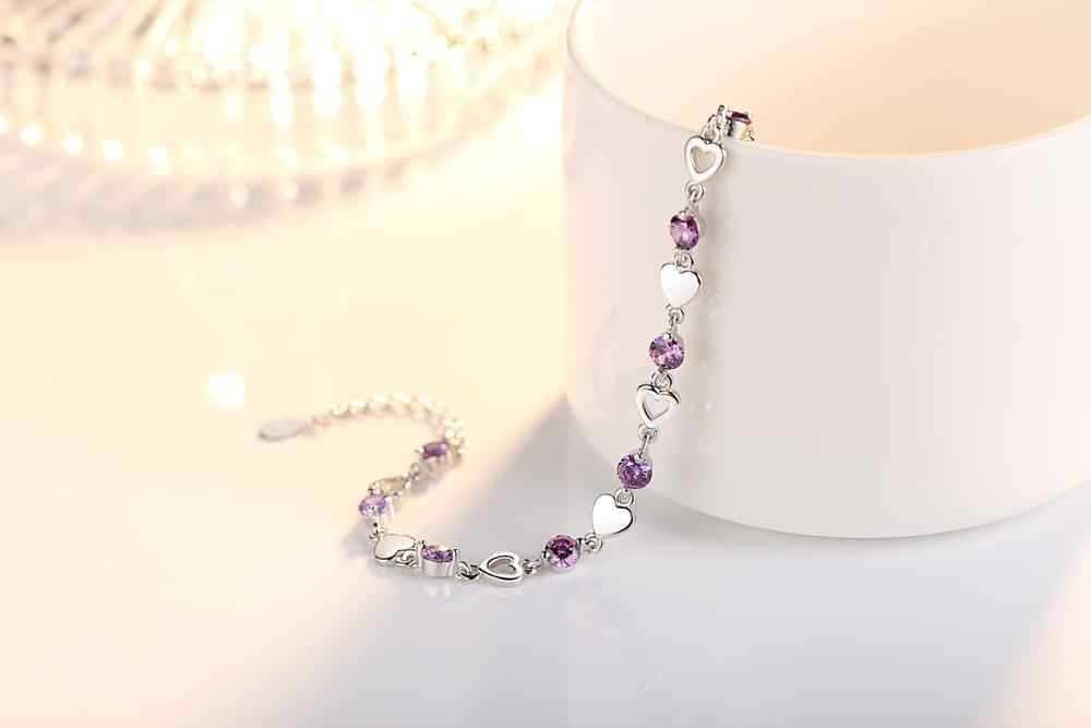 ใหม่แฟชั่น 925 Sterling Silver Love Heart Zirconia สร้อยข้อมือผู้หญิงคริสตัลเครื่องประดับ pulseira feminina S-B144