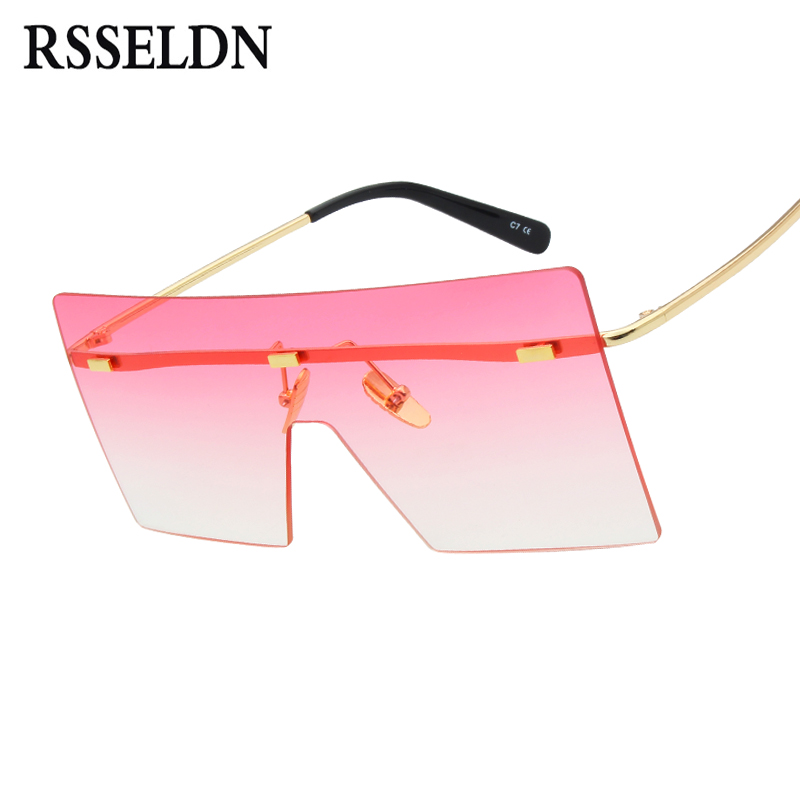 RSSELDN Oversize Women Sunglasses Fashion Blue Pink Brown Metal Rimless Sun glasses For Men Square Gradient Lens Shades UV400
