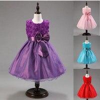 שמלת נסיכה 6 צבעים שמלת מסיבת ילדה שמלת קיץ Bow ילדי בגדי פרח חתונה elbise infantil menina vestido de festa