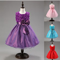 Vestido de princesa 6 cores da menina flor do casamento vestido de festa vestido de verão Arco elbise roupa dos miúdos vestido de festa infantil de menina