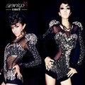 # 2019 moda diamante espumante Sexy bodysuit paetês traje cantora figurinos para os cantores bodysuit strass