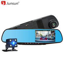 Junsun coche dvr de doble cámara full hd 1080 p grabador de vídeo retrovisor espejo Con Espejo retrovisor Del Automóvil DVR Dash cam car dvr