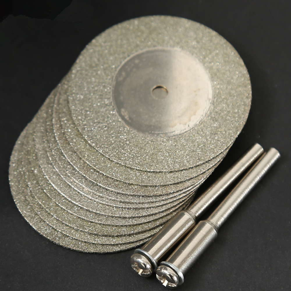 10pcs 35mm Stone Jade Glass Diamond Dremel Cutting Disc Fit Rotary Tool Dremel Drills Tool With Two Mandrel Dremel Accessories
