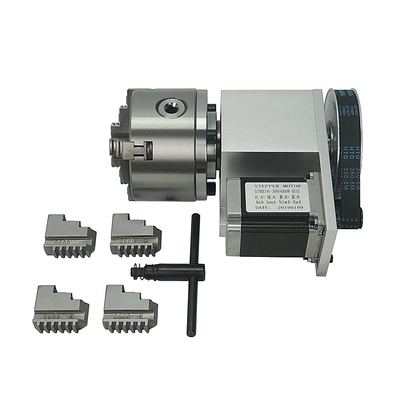 Hollow Shaft Rotary Axis K5M-6-100 100mm 3 Jaw 4 Jaws Chuck For Cnc Engraving Machine
