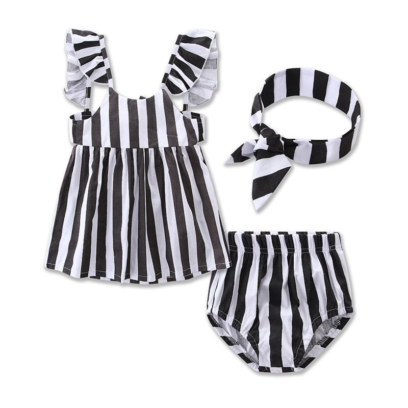 pudcoco Newborn baby Infant Toddler Baby Girl Clothes Striped dress Tops +Shorts Pants+Bow Headband Outfit set 2pcs children outfit clothes kids baby girl off shoulder cotton ruffled sleeve tops striped t shirt blue denim jeans sunsuit set