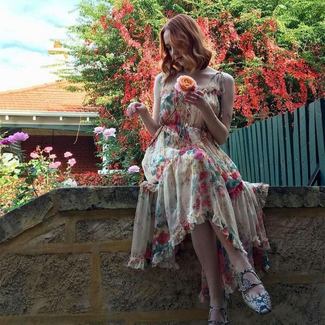 701fb666ae07f US $163.8 9% OFF|Women Meadow Floral Print Laelia Floating Dress Tiered  Dress With Asymmetric Hem Shoestring Shoulder Laelia Floral Midi Dress-in  ...