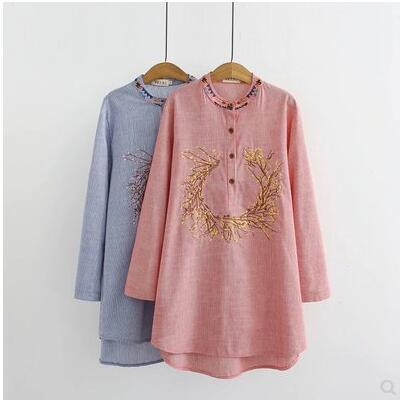 XL-4XL Blouses 2018 fall tops women floral embroidery long sleeve plus size shirts middle age mother female elegant loose blusas