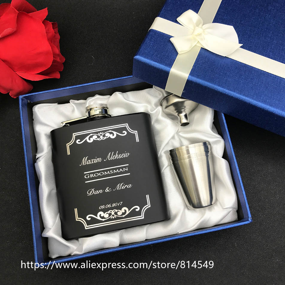 Personalized Wedding Gift For Groomsman Gifts Of 6oz Black Hip Flask