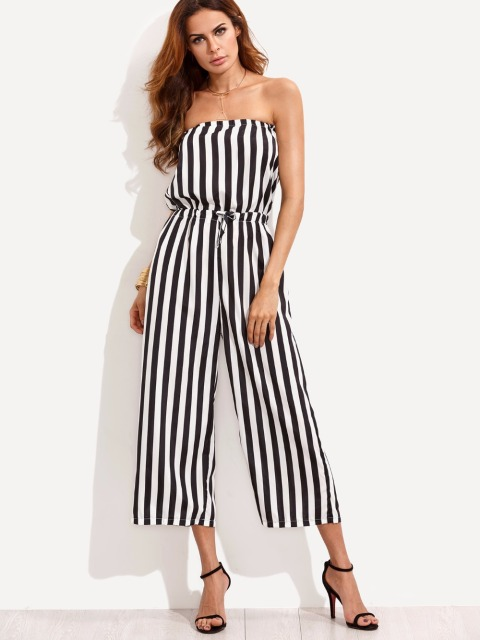 3e8903e61ea Sexy Women Strapless Backless Summer Jumpsuit Off Shoulder Elastic Waist  Black White Striped Casual Beach Calf Boot Cut Pants