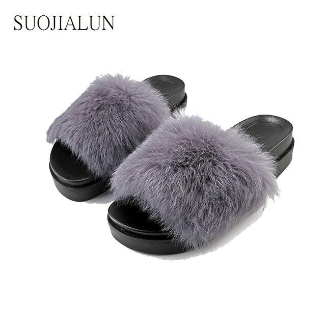 Women Fur Slides Shoes Fuzzy Slippers Women Sandals Warm House ...