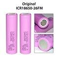 2 unids/lote para samsung nuevo 100% original 18650 icr18650-26fm 2600 mah li-ion 3.7 v batería, para el banco de potencia o la Iluminación etc.