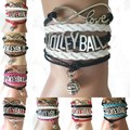 (10pcs/Lot) 8 Colors Mixed Volleyball Bracelets Handmade  Braided Leather Friendship Sports Fans Club Cheering Teams Gift