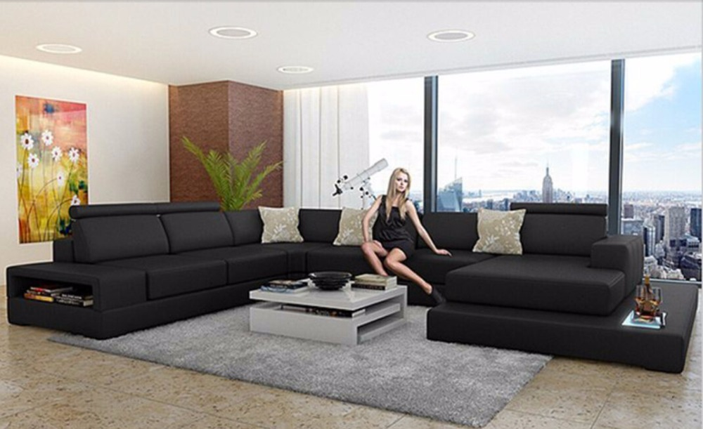 Leather Sofa With Full Black Color