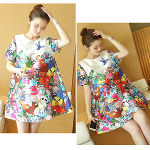 Image 4 - Print Cartoon Animal Maternity Dresses For Pregnant Women Clothes Pregnancy Dress Vestidos Maternity Clothing Mother 2019 Wear