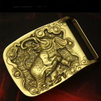 Retail New Style Solid Brass Elephant Belt Buckle 7 4 5cm Yellow Metal For 4 0cm