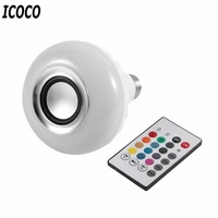 ICOCO Smart Wireless Bluetooth LED Stereo Audio Speaker RGB Colorful Bulb 12W 28 LEDs Light Beads